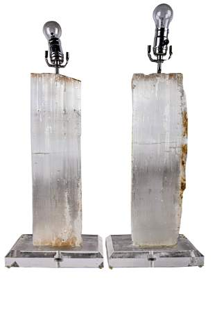 PAIR OF ROCK CRYSTAL SPECIMEN TABLE LAMPS
