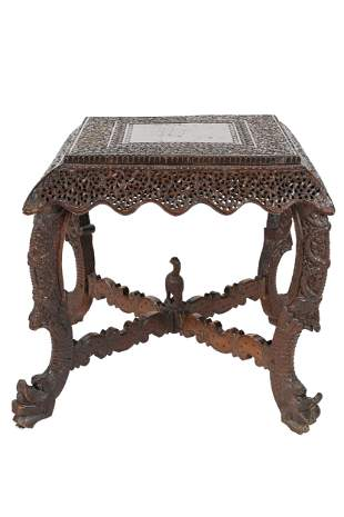 INDIAN CARVED WOOD SIDE TABLE