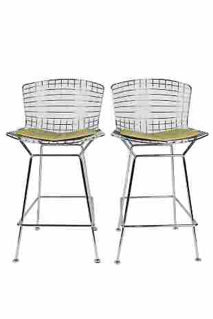 HARRY BERTOIA FOR KNOLL: PAIR CHROME WIRE BARSTOOLS