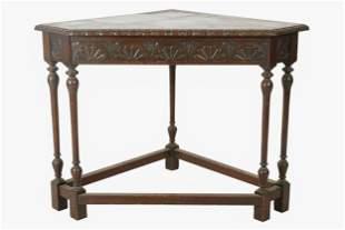 ENGLISH CARVED OAK CORNER TABLE