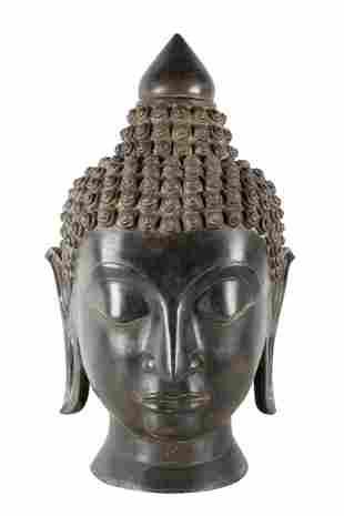 LARGE THAI BRONZE HEAD OF BUDDHA