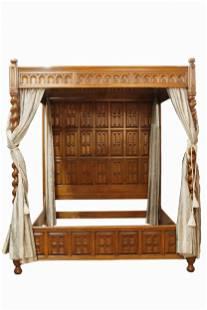 RAYMOND ENKEBOLL: CARVED PANELED WOOD CANOPY BED