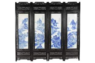 FOUR PANEL CARVED CHINESE TILE INSET SCREEN