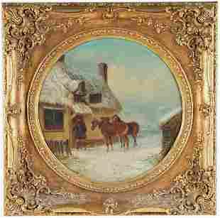 THOMAS SMYTHE (1825 - 1906): FIGURE & HORSES BEFORE A