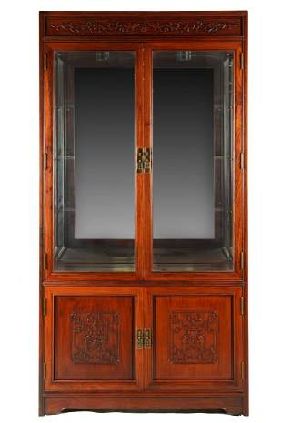 ASIAN STYLE CARVED WOOD GLAZED CABINET