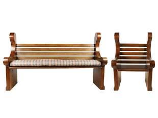 RAYMOND ENKEBOLL: CARVED WOOD BENCH & ARMCHAIR