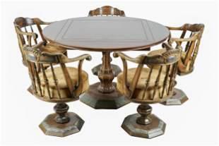 RAYMOND ENKEBOLL: CARVED WOOD GAME TABLE & CHAIR SET