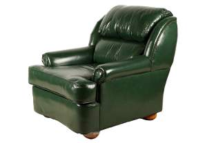 LEATHER FACTORY: GREEN LEATHER CLUB CHAIR