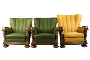THREE CARVED WOOD ARMCHAIRS