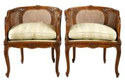 PAIR OF LOUIS XV STYLE CANED FRUITWOOD BERGERES