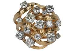18 KARAT YELLOW GOLD & DIAMOND CLUSTER RING