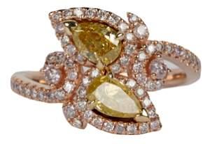 14 KARAT ROSE GOLD & FANCY COLORED DIAMOND RING