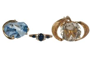 THREE YELLOW GOLD & MULTI-GEM RINGS