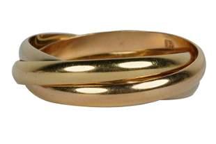 CARTIER 18 KARAT TRI-COLOR GOLD 'TRINITY' RING