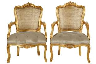 PAIR OF LOUIS XV STYLE CANED GILTWOOD FAUTEUILS