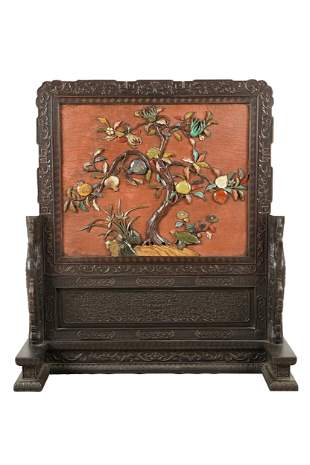CHINESE STONE-INLAID TABLE SCREEN ON STAND
