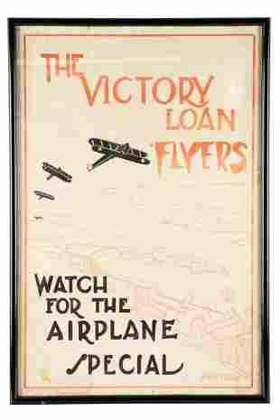 """K. WATKINS: """"VICTORY LOAN FLYERS"""" WWI POSTER"""
