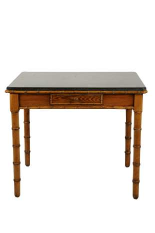 PINE FAUX BAMBOO STONE-TOP TABLE