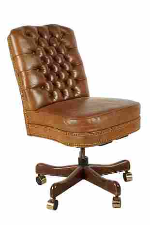 OUR HOUSE DESIGNS: BROWN LEATHER SWIVEL DESK CHAIR