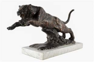 PATINATED BRONZE FIGURE OF A TIGER