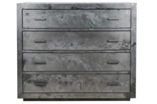 CONTEMPORARY BRUSHED METAL-CLAD CHEST OF DRAWERS