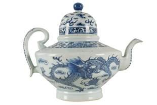 CHINESE BLUE & WHITE PORCELAIN TEAPOT