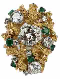 18 KARAT YELLOW GOLD, DIAMOND, & EMERALD CLUSTER RING