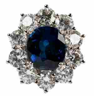 14 KARAT WHITE GOLD, DIAMOND, & SAPPHIRE RING