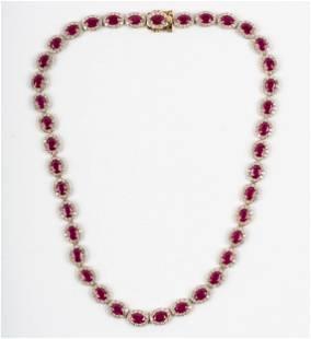 18 KARAT WHITE GOLD, DIAMOND, & RUBY NECKLACE