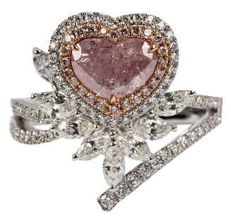 18 KARAT WHITE GOLD, DIAMOND, & PINK DIAMOND RING
