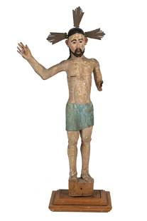 SPANISH COLONIAL CARVED & PAINTED WOOD FIGURE OF CHRIST
