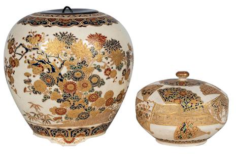 TWO IMPERIAL SATSUMA PORCELAIN COVERED JARS