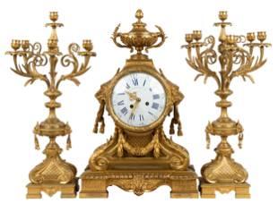 FRENCH GILT BRONZE CLOCK GARNITURE