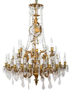 FRENCH GILT BRONZE THIRTY-TWO LIGHT CHANDELIER