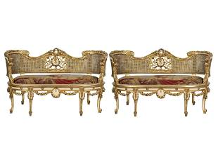 PAIR OF CANED GILT & PAINTED WOOD SETTEES