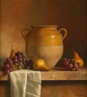 LORAN SPECK (1943 - 2011): STILL LIFE WITH URN & FRUIT