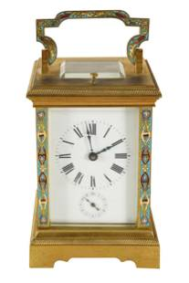 FRENCH GILT BRONZE & CHAMPLEVE CARRIAGE CLOCK
