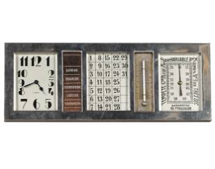 FRENCH SILVERED BRONZE DESK CLOCK / BAROMETER