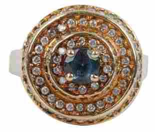 14 KARAT GOLD, SYNTHETIC ALEXANDRITE, & DIAMOND RING