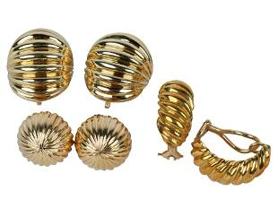 THREE PAIRS OF YELLOW GOLD EARCLIPS