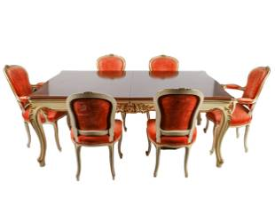 LOUIS XV-STYLE PAINTED & GILT DINING SUITE
