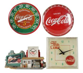 FOUR COCA-COLA WALL CLOCKS