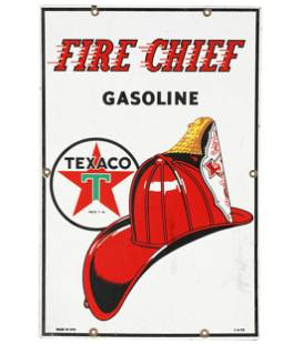 PAINTED TIN FIRE CHIEF GASOLINE SIGN