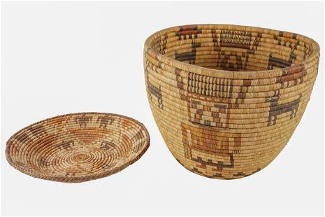 TWO NATIVE AMERICAN PICTORIAL COILED BASKETS