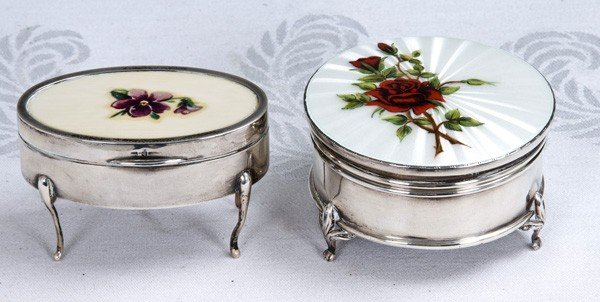1: TWO ENGLISH STERLING AND ENAMEL DRESSER BOXES