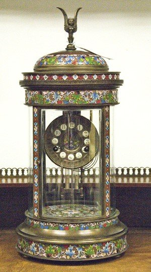 10: CONTINENTAL BRONZE AND CHAMPLEVE MANTLE CLOCK