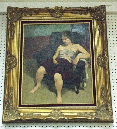 """15: SAUL BERMAN: """"PORTRAIT OF A WOMAN IN A CLUBCHAIR"""""""
