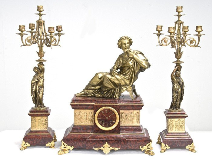 17: EMPIRE STYLE DORE BRONZE AND ROUGE MARBLE FIGURAL T
