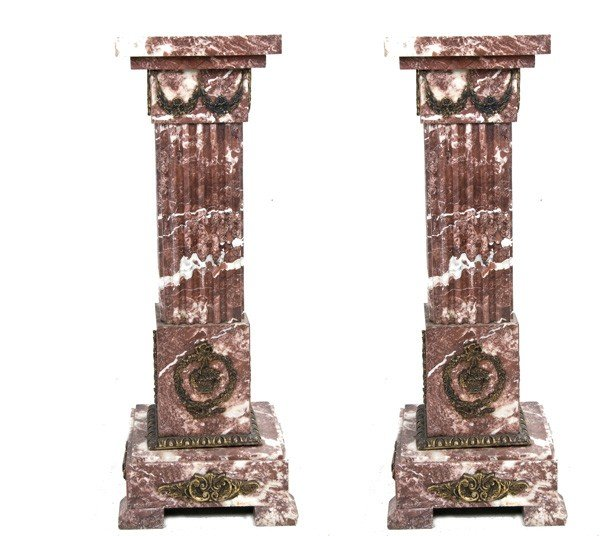 21: PAIR OF BRONZE MOUNTED ROUGE MARBLE PEDESTALS