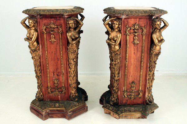 211: PAIR OF FRENCH ORMOLU-MOUNTED FIGURAL PEDESTALS
